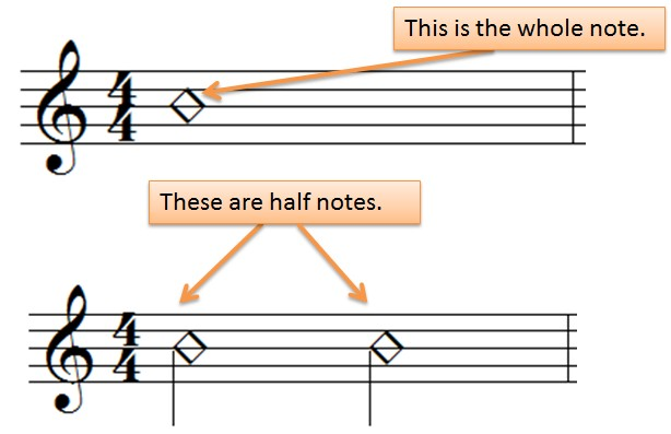 whole and half notes in rhythm notation